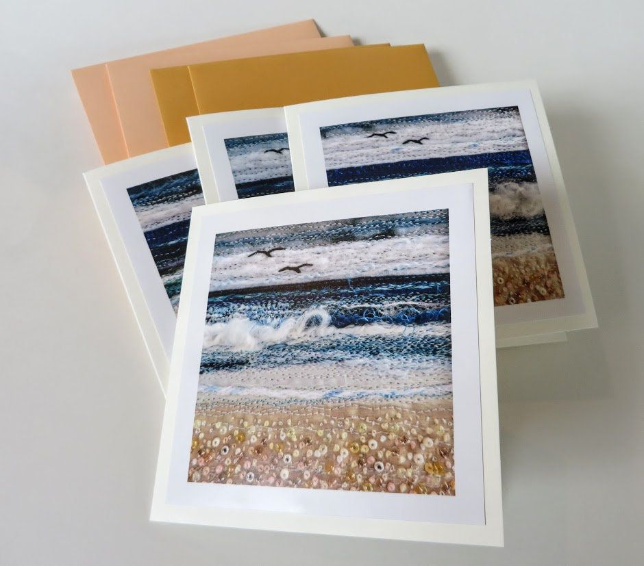 Set of 4 printed cards with photos of unique fibreart seascapes - four folded 5.5 inch square greeting cards blank inside with envelopes