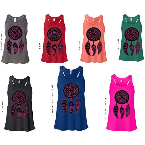 (All Over Us) Ladies Flowy Racerback Tank Dream Catcher Racerback Tank... (29 AUD) ❤ liked on Polyvore featuring tops, black, tanks, women's clothing, tan tank top, black top, black racerback tank top, tan top and black tank