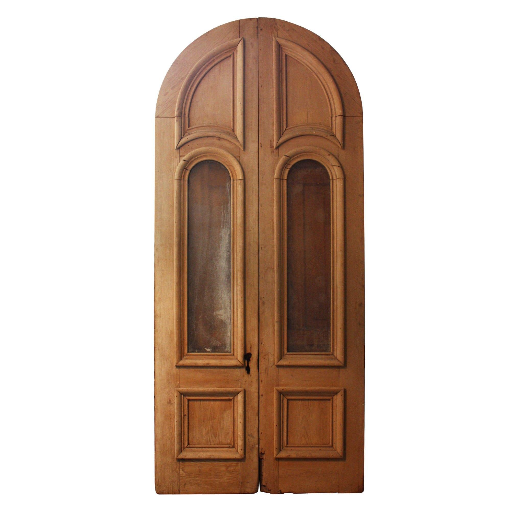 Impressive pair of antique double doors with glass c us