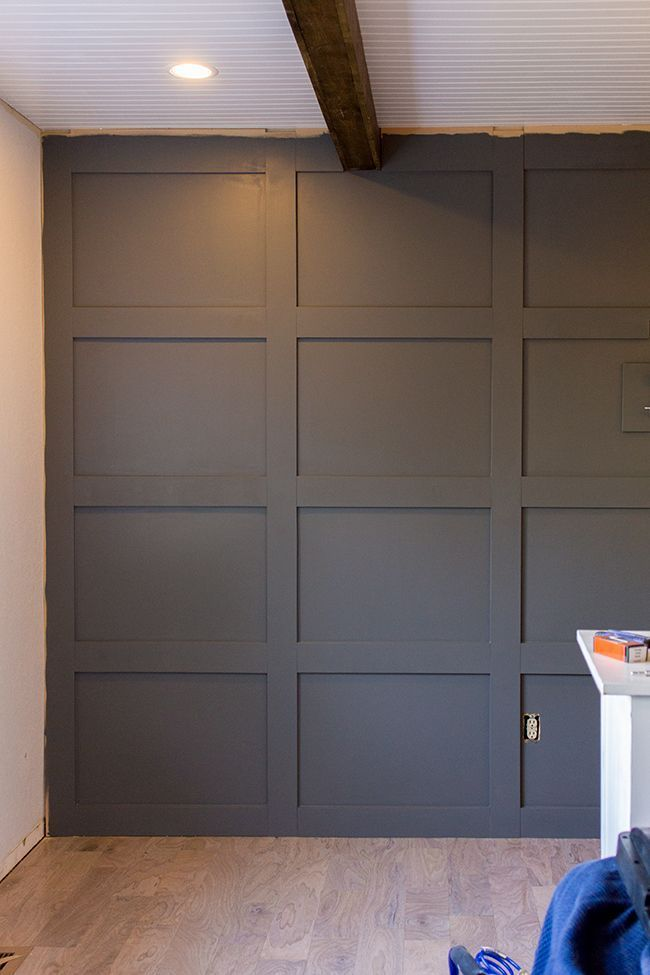 Wood Paneled Room Design: DIY Paneled Wall For Under $100!, Covers Textured Wall Too