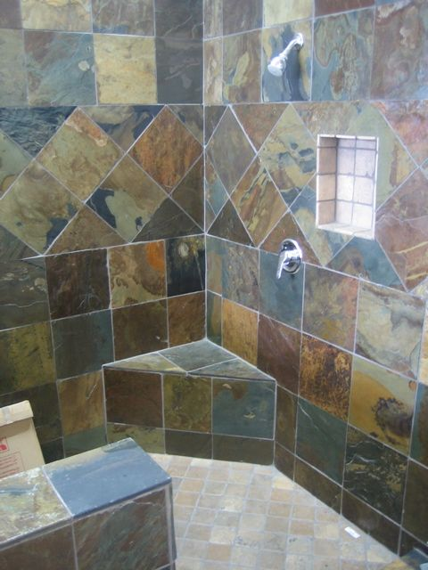 Slate bathroom multicolor slate shower 346 jack for Slate tile bathroom ideas