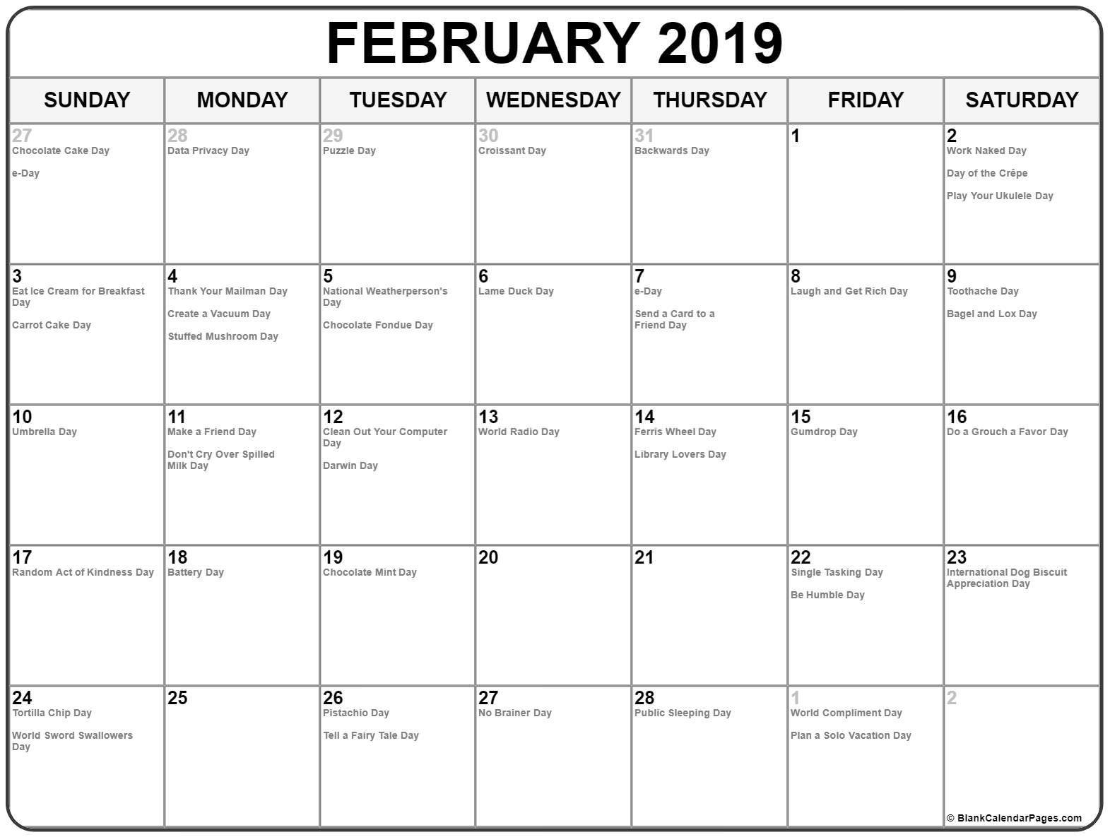 February 2019 Whacky Holidays Calendar February 2019 Calendar