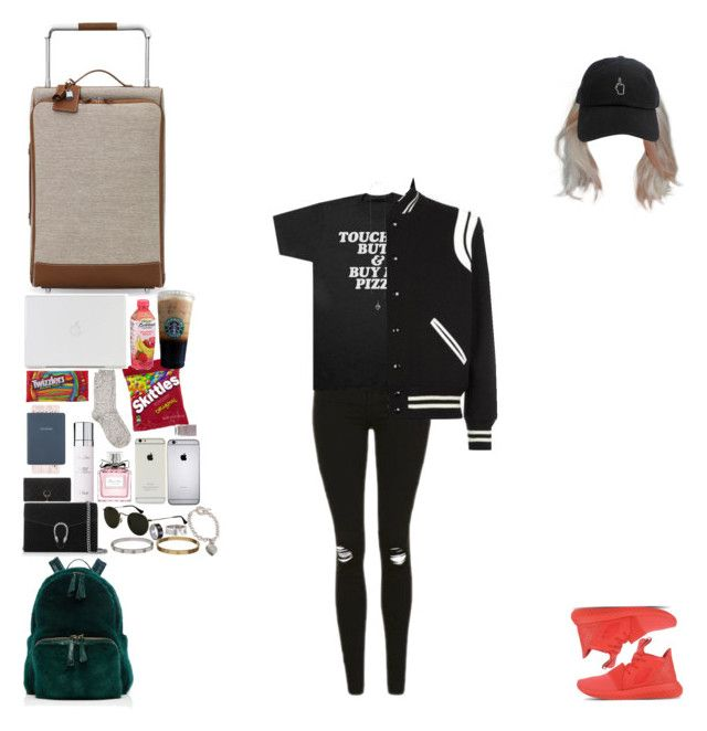 """Airport from LA to London.(Harry's BF)"" by asma-d ❤ liked on Polyvore featuring Hermès, River Island, Topshop, Christian Dior, Nancy Gonzalez, Yves Saint Laurent, Gucci, adidas Originals, Ray-Ban and Nails Inc."
