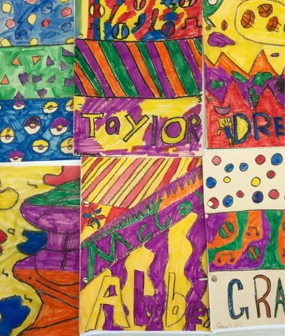For our first art projects, each grade level studied color in some way. Kindergarten has been using primary colors. These paintings are ins...