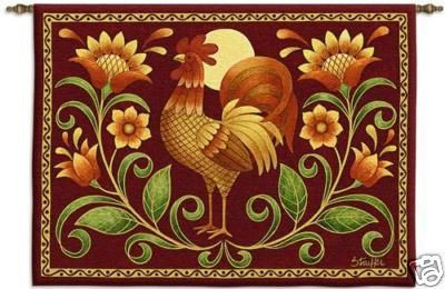 34x26 SUNRISE ROOSTER Farm Tapestry Wall Hanging $49.95