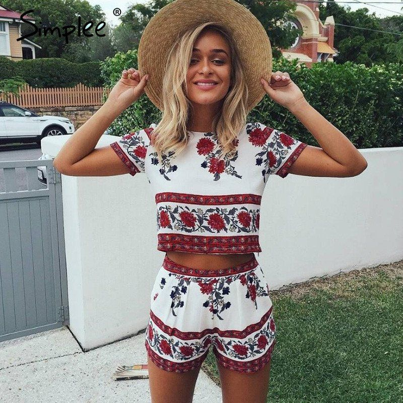 5fdc11318a6 Simplee Elegant jumpsuit romper two-piece suit Boho chic flower playsuit  women Summer style overall Casual beach leotard