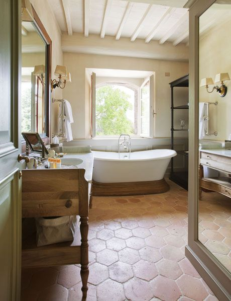 Rosewood Castiglion Del Bosco Hotels Tuscany Italy Tuscan Bathroom Rustic Flooring Home Remodeling