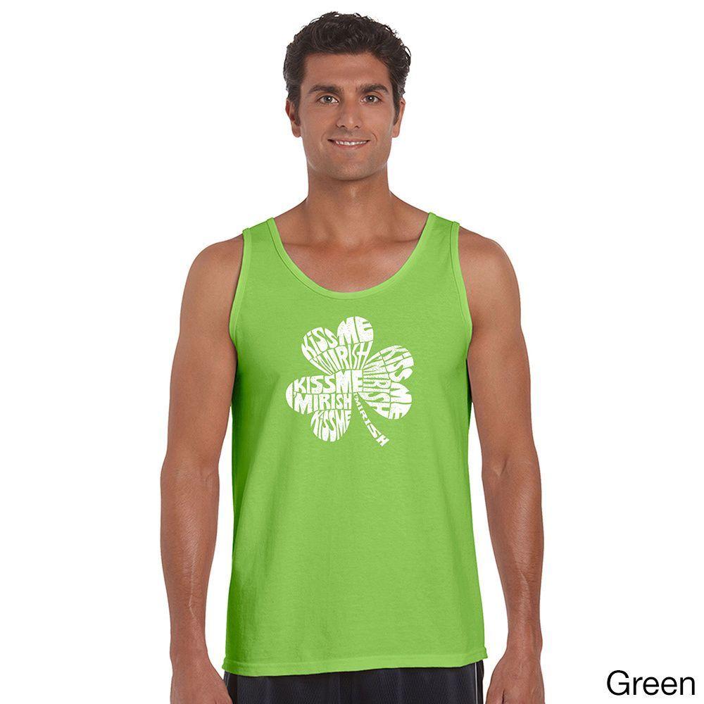 Los Angeles Pop Art Men's 'Kiss Me I'm Irish' Solid-colored Tank Top