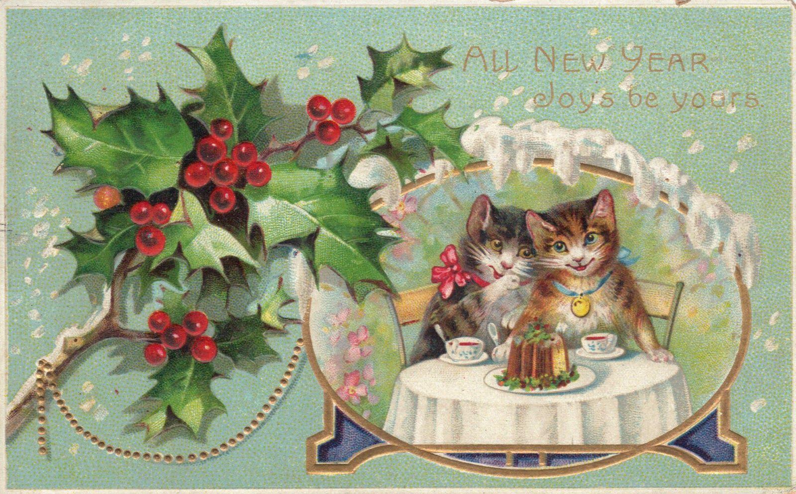Chloe Van Paris Happy New Year 2012 Vintage Happy New Year Christmas Cats New Year Postcard