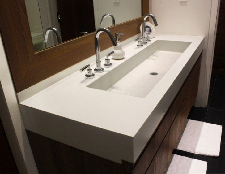 MASTER BATH TROUGH SINK  Bathroom, Large Trough Sink With Double Stainless  Steel Taps And Double Sprayer Controls Large Ornamental Mirror With Wide  Wood ...