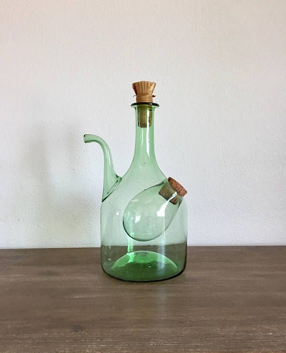 Vintage Wine Decanter; Italian Green Glass Wine Decanter With Ice  Compartment; Mid Century Decanter; Wine Carafe; Hand Blown Decanter Idea