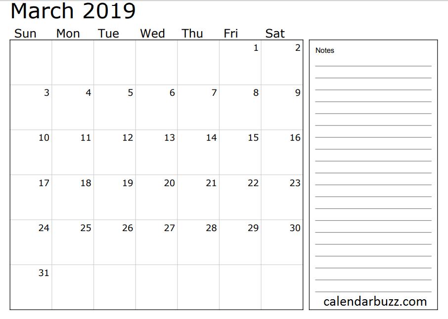 photograph regarding Calendar Notes referred to as March 2019 Calendar with Notes 2019 Calendars June 2019