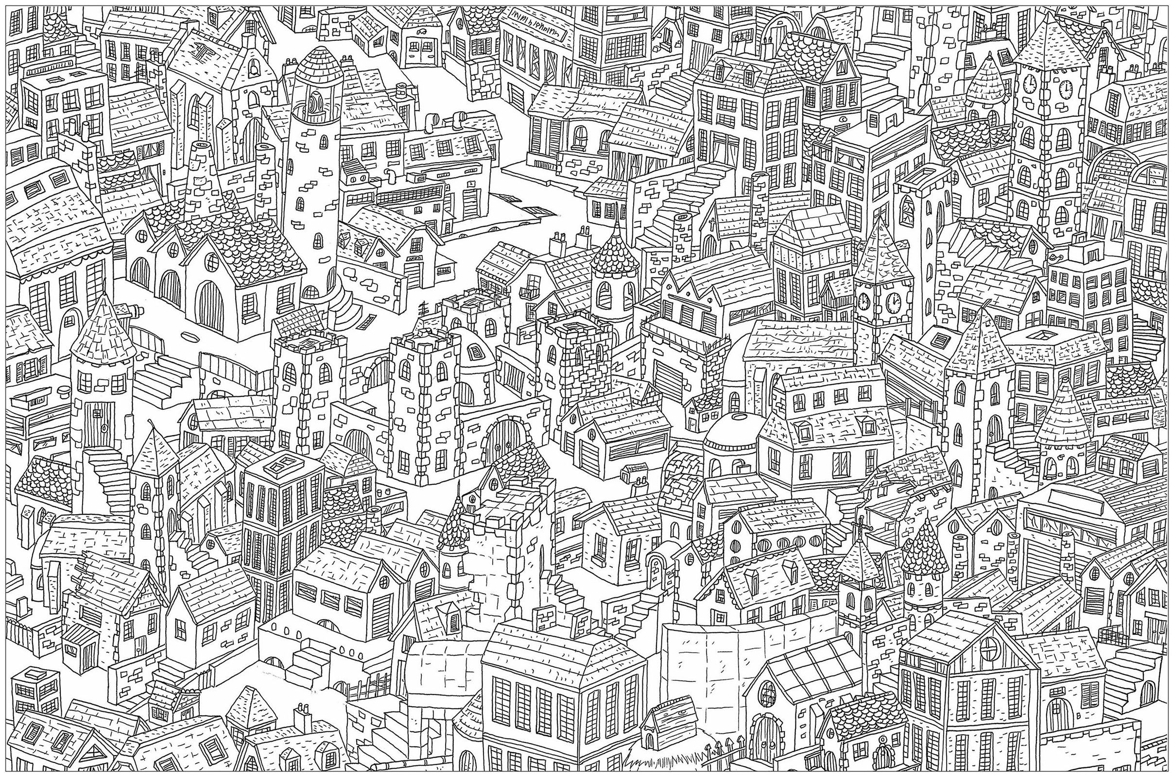 Complex City Architecture And Living Coloring Pages For Adults