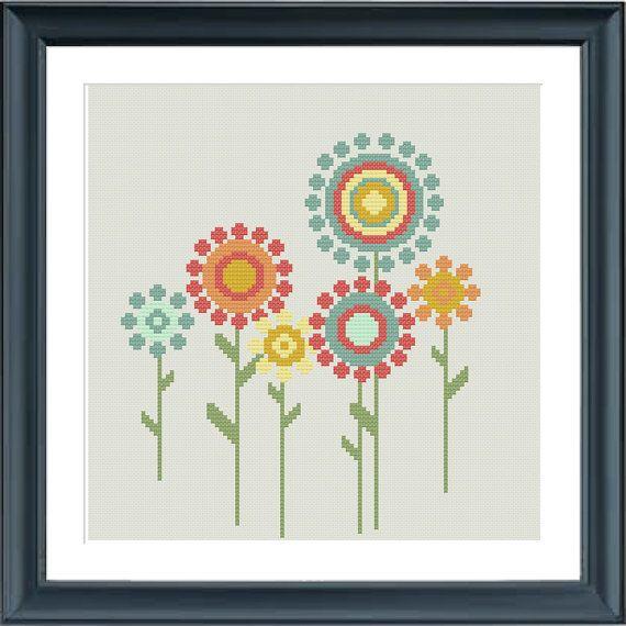 Un moderno flores punto de cruz patrón de estilo retro. Encaja en un ...