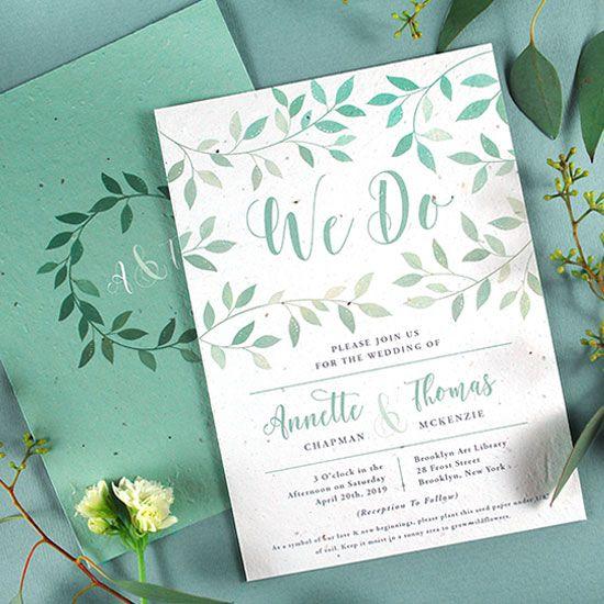 lovely leaves plantable wedding invitations - Plantable Wedding Invitations