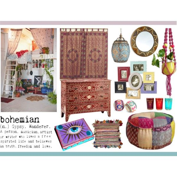 Mood Board: Bohemian Interior by synkopika on Polyvore featuring ...