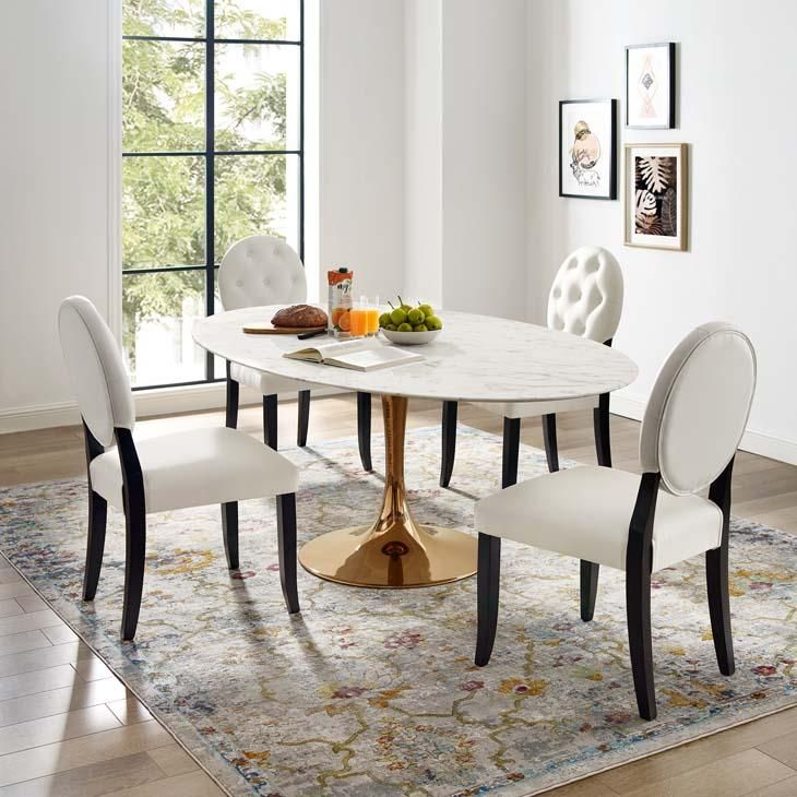 Tulip Style 78 Rose Oval Marble Dining Table Deco Appartement