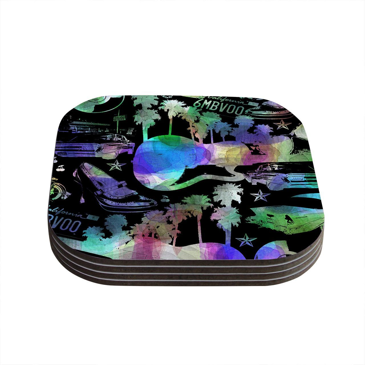 Kess InHouse Gabriela Fuente 'California Dream' Rainbow Abstract Coasters