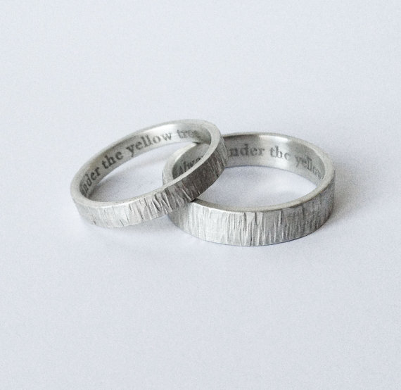 Simple Engraved Wedding Rings Handmade Hammered Silver Bands 5mm 3mm Satin Finish