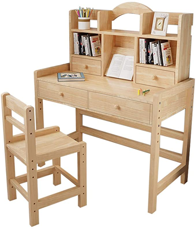 Amazon Com Kids Desk And Chair Set Adjustable Height Kids Wooden Study Desk With Drawers And Bookshelv In 2020 Wooden Study Desk Desk And Chair Set Desk With Drawers