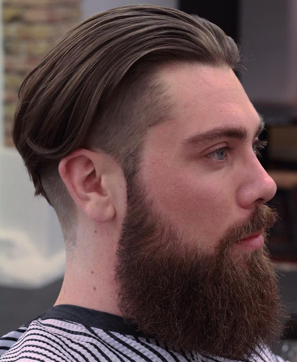 Boy hairstyle simple long top undercut with a full beard menshairstyles  mens