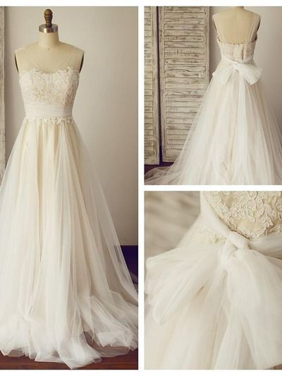 A Line Ivory Wedding Dresses With Sheer Straps Wedding Dress Champagne French Lace Wedding Dress Bow Wedding Dress
