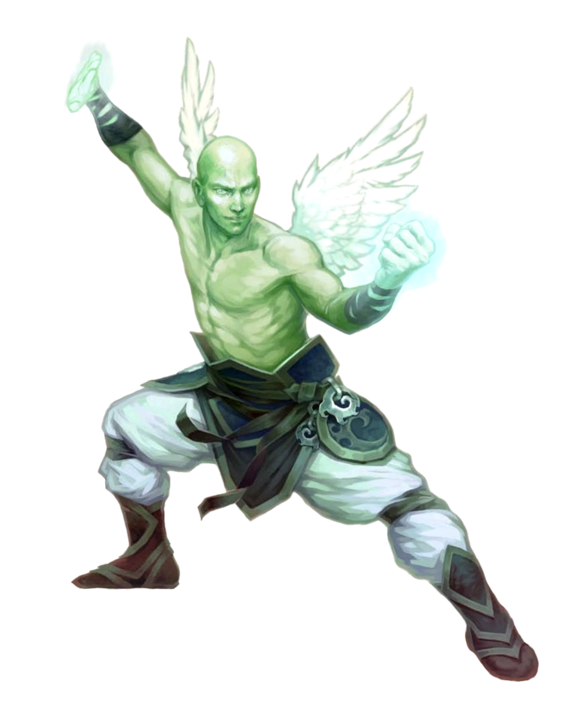 Male Aasimar Planetar Monk - Pathfinder PFRPG DND D&D 3 5 5E 5th ed
