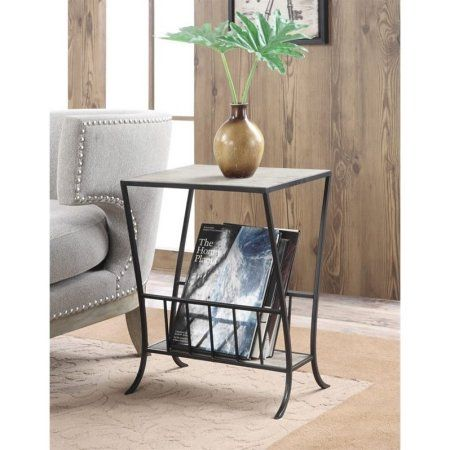Convenience Concepts Wyoming Magazine End Table, Black