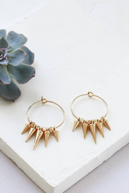 ramon earrings, punk rock earrings, hoop earrings, spike earrings