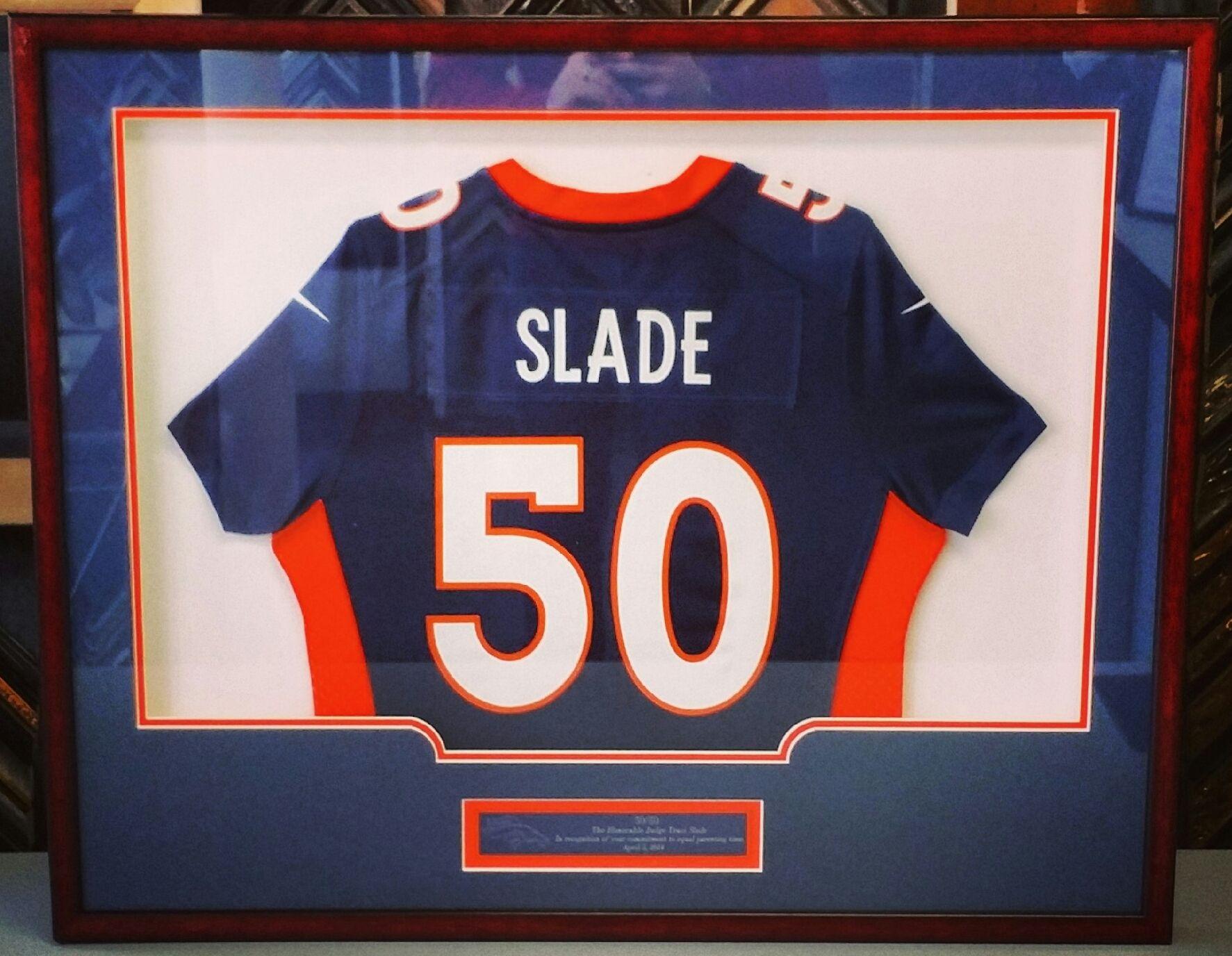 Custom framed ladies Denver Broncos jersey using three acid-free ...