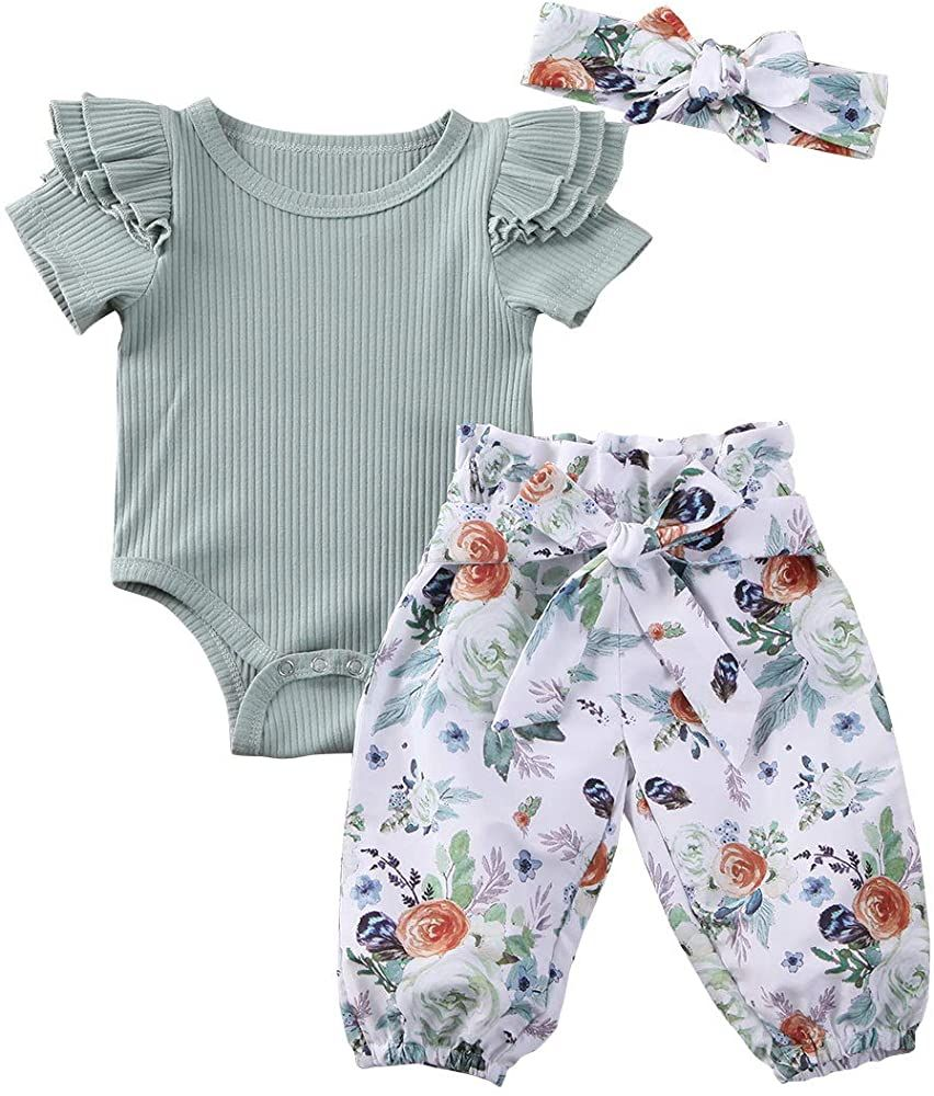 3Pcs Baby Girl/'s Romper Tops Bodysuit Flower Pants Headband Outfits Clothes Set