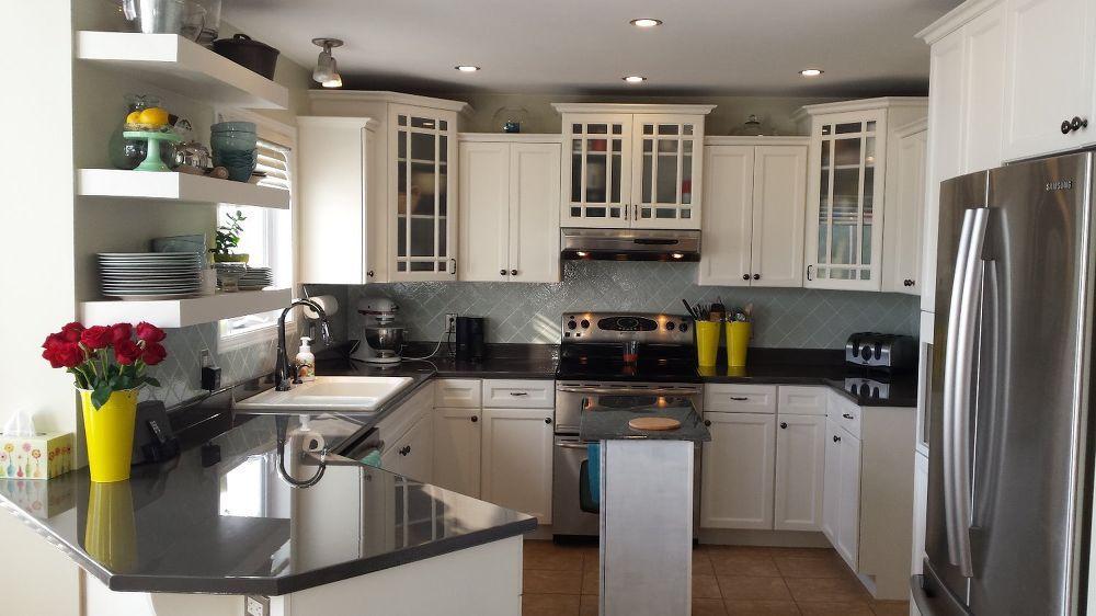 Diy Kitchen Makeover Painted Counters Backsplash Cabinets Epoxy