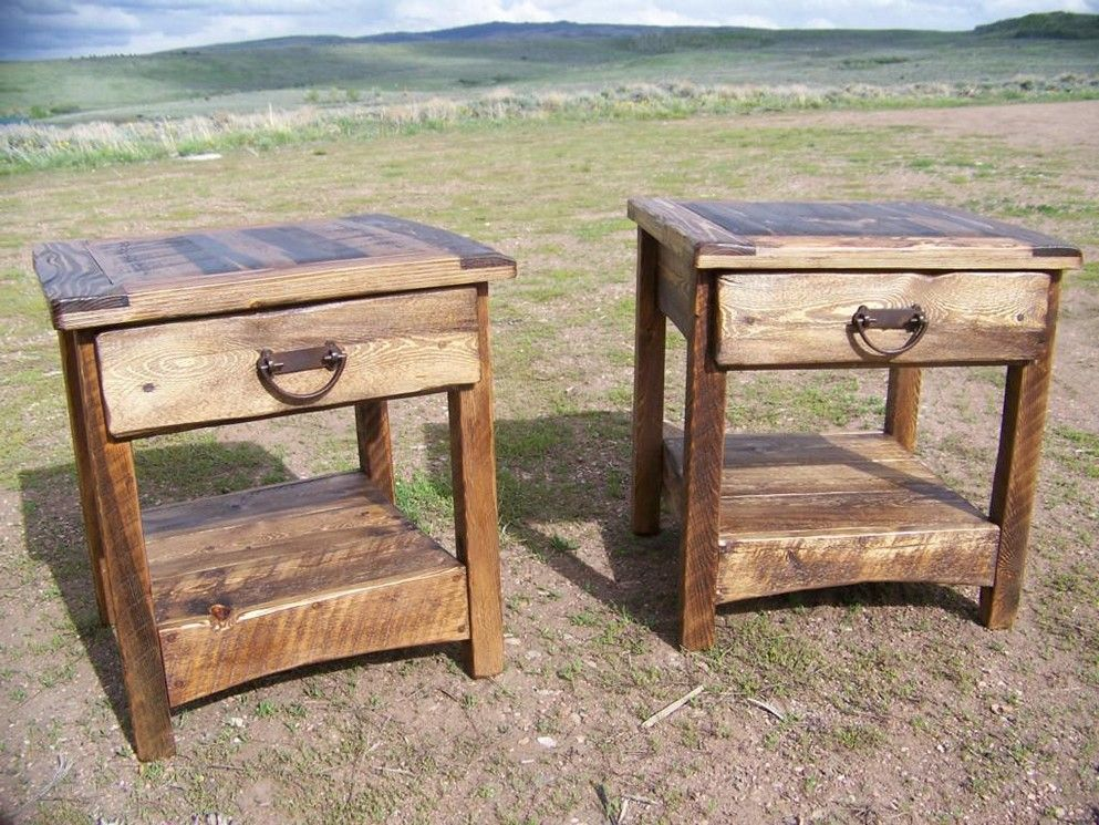 Reclaimed Wood And Metal End Table With Storage Metal End Tables
