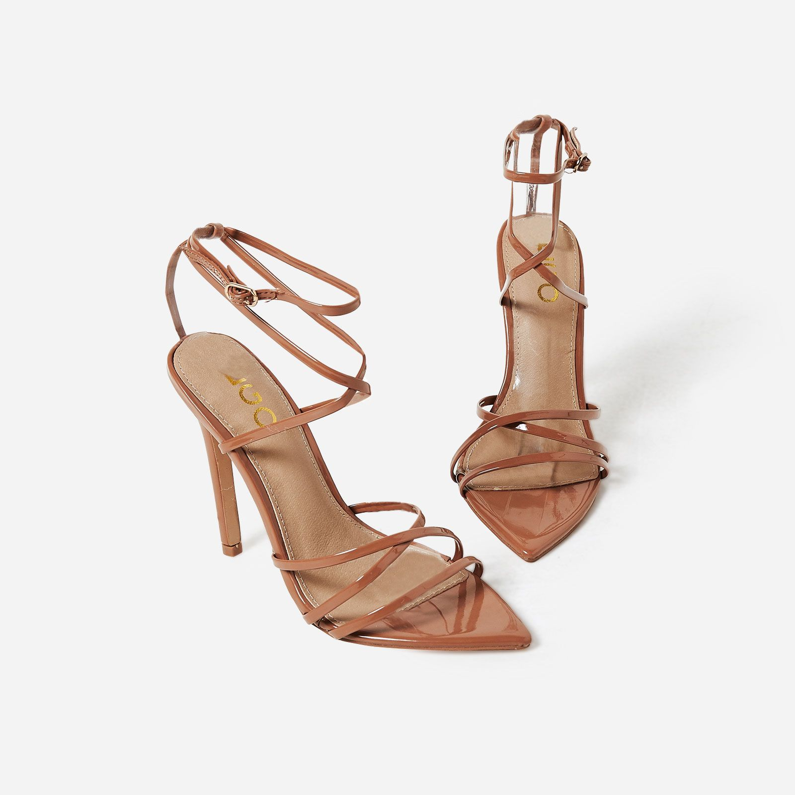 d1fc4a89cf1 Kaia Pointed Barely There Heel In Mocha Patent