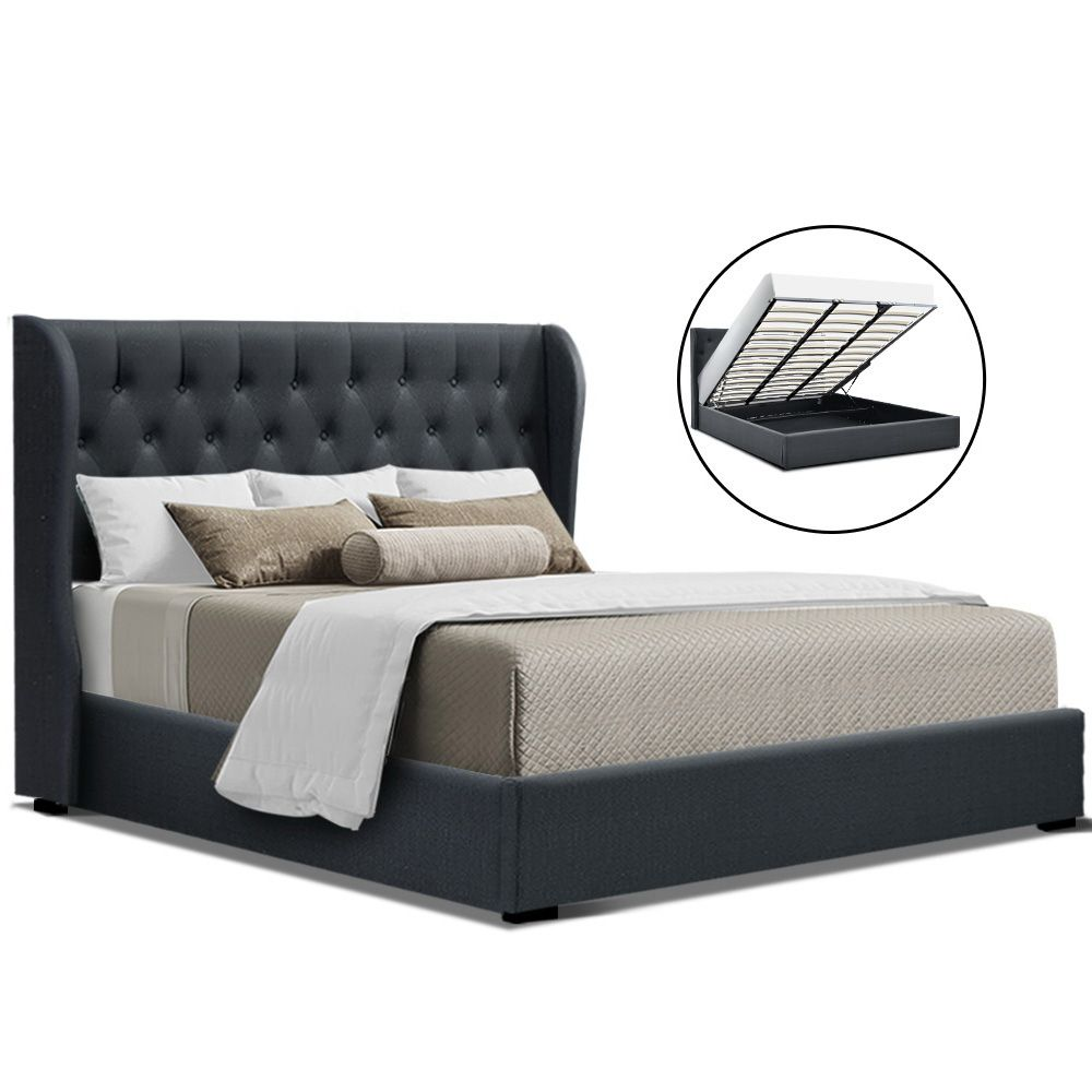 Gael Charcoal Gas Lift Storage Bed Frame Online Only Matt