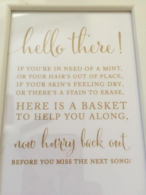 Restroom bathroom wedding sign receptions wedding and for Wedding reception bathroom ideas