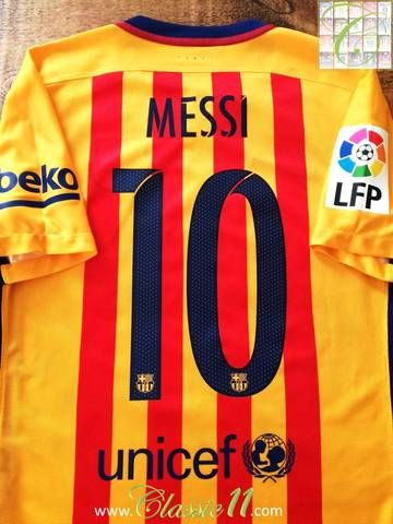 8ab09b3d248 Official Nike Barcelona away player issue football shirt from the 2015 16  season. Complete with Messi  10 on the back of the shirt and La Liga patch on  the ...