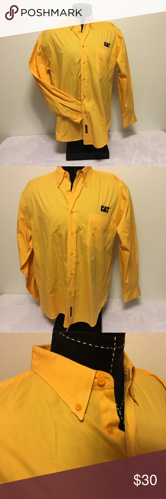bf4c8f11675 Yellow CATERPILLAR CAT Tractors Button Down Shirt Very Nice