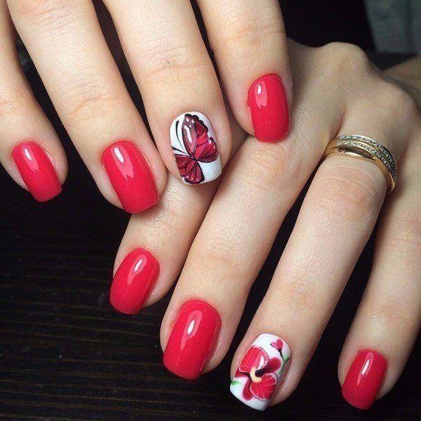 Маникюр шеллак (100 фото) - Дизайн ногтей   Красные ногти ...