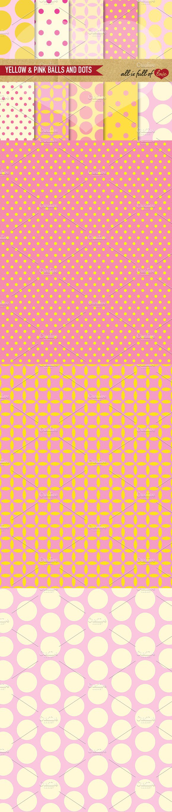 Yellow & Pink Balls Dots Papers. Wedding Card Templates