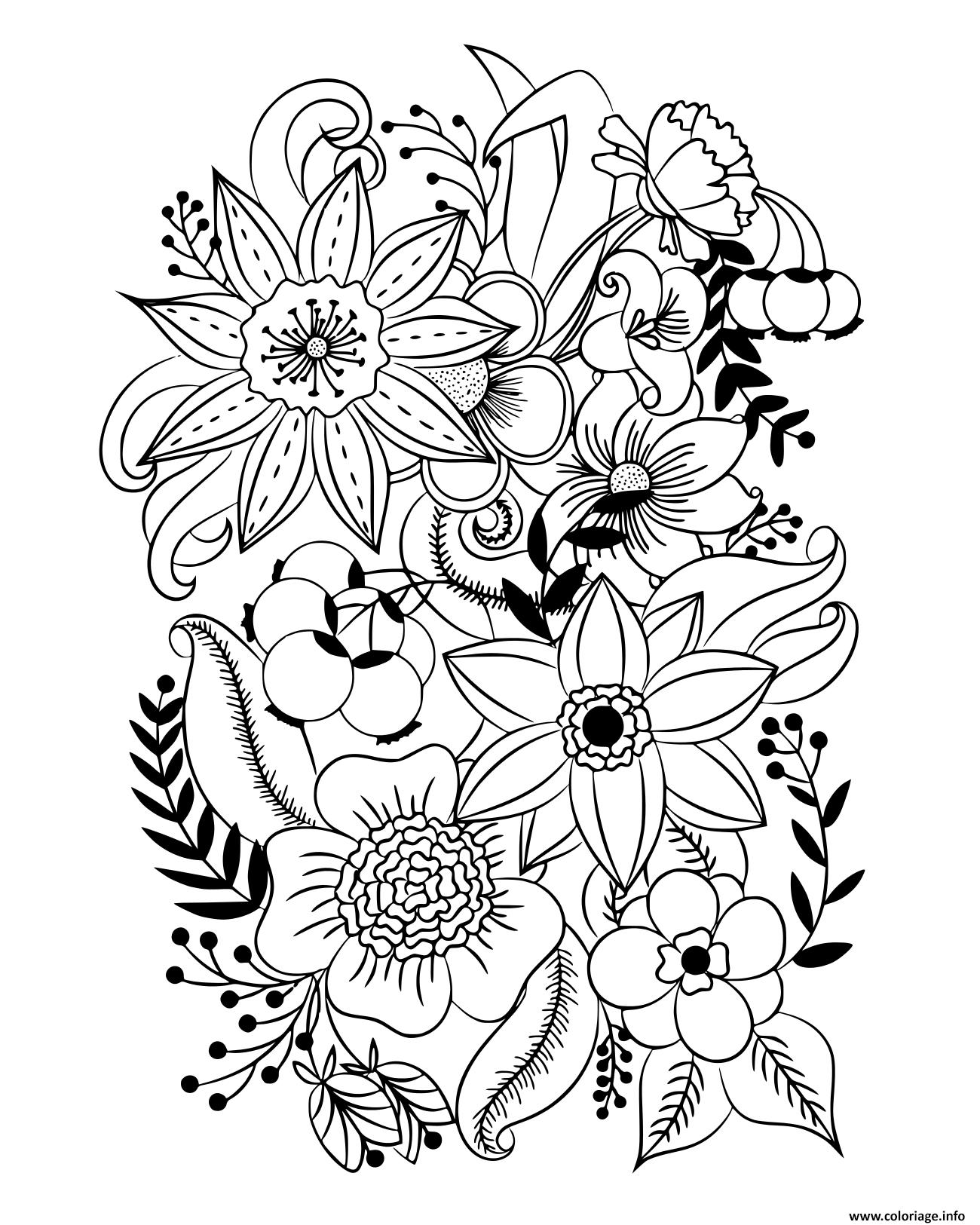Coloriage diverses fleurs et feuilles insipration à imprimer
