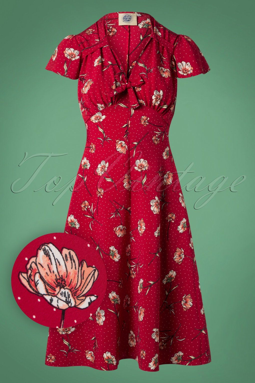1940s Dresses 40s Dress Swing Dress 40s Pretty Tea Dress In Red Spot Floral Vintagedancer Com Tea Dress Forties Fashion White Tea Dresses [ 1530 x 1020 Pixel ]