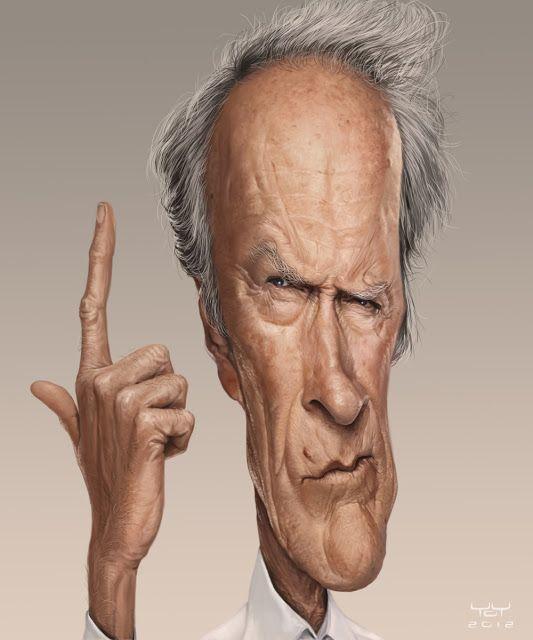 El actor, guionista y director de cine Clint Eastwood caricaturizado por el artista Yoann Lori.    ...