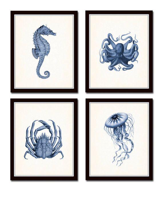 Indigo Sea Life stampa set no. 20, cavalluccio marino, polpo, blu indaco, giclee, stampe e poster, arte costiera, arte nautica, collage, illustrazione #strandhuis