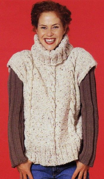Soho Bulky Tweed Cabled Oversize Vest Free Knitting Pattern ...