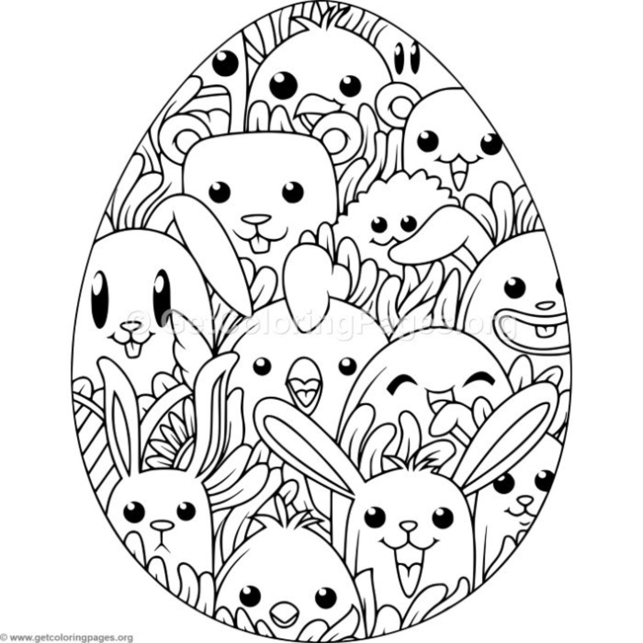 Happy Animals Easter Egg Coloring Pages GetColoringPages