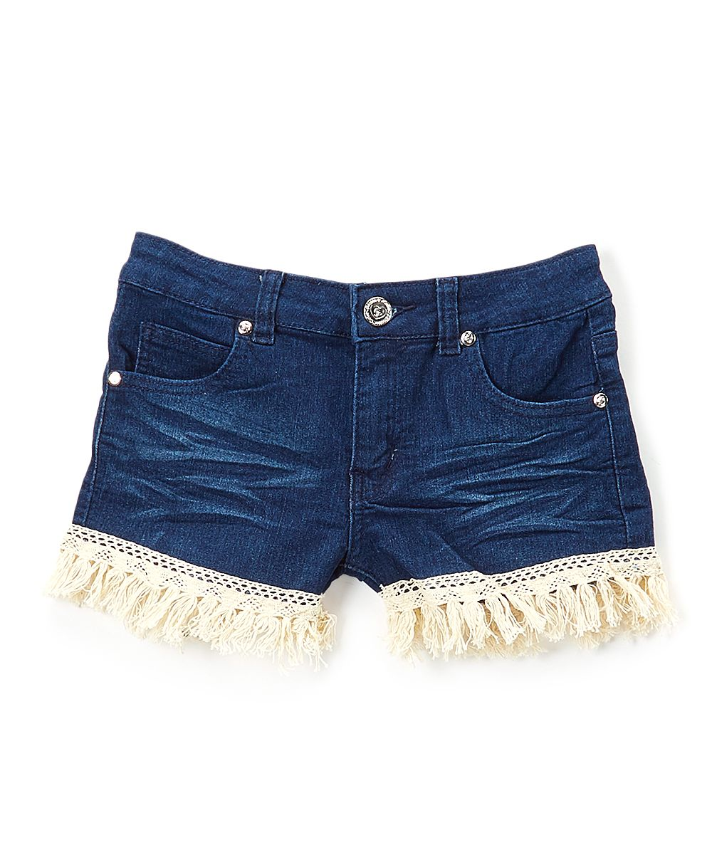 6561a15496 Dark Fringe-Trim Denim Shorts - Toddler & Girls | Products | Girls ...
