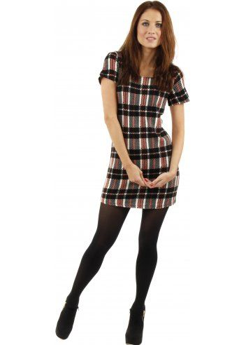 Designer Desirables Black &amp Red Tartan Print Back Bow Detail Shift ...