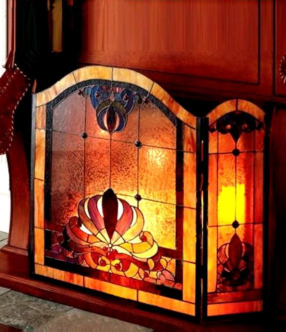 stained glass dale tiffany anemone 3 panel stained glass fireplace rh pinterest com tiffany fireplace screens clearance Victorian Fireplace Screen