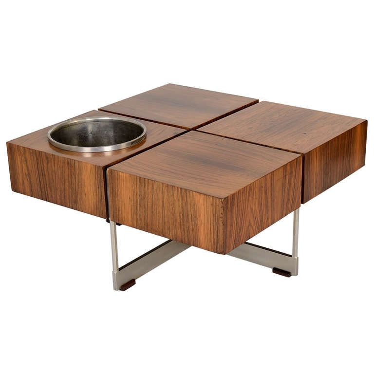 Unusual 50s Coffee Table With Flower Pot From A Unique